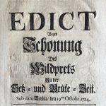 Jagdedikte Friedrich Wilhelms I.